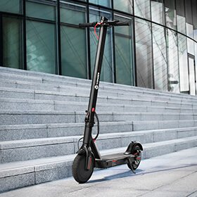 Electric scooter on stand